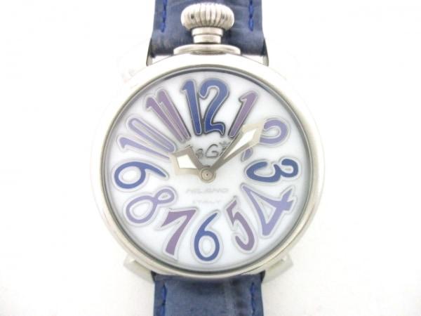 GAGA MILANO(ガガミラノ) 腕時計 マヌアーレ40 - レディース 革ベルト ライトグレー