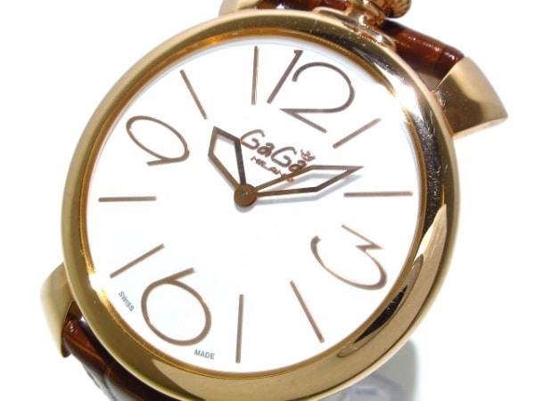 GAGA MILANO(ガガミラノ) 腕時計 マヌアーレ シン46 5091 レディース 革ベルト 白