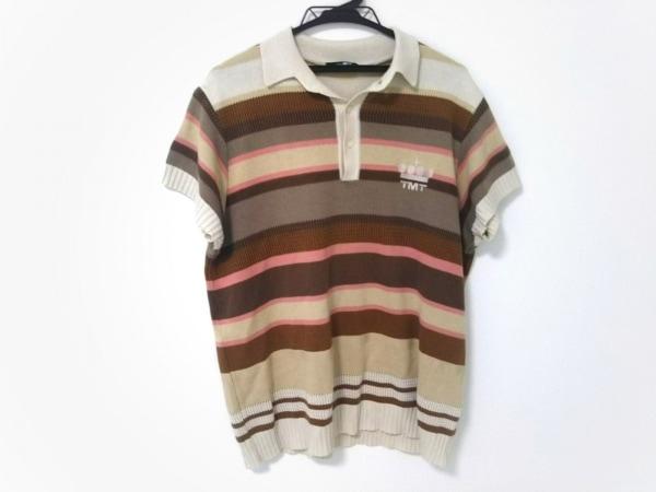 TMT(ティーエムティー) 半袖ポロシャツ メンズ ブラウン×アイボリー×マルチ