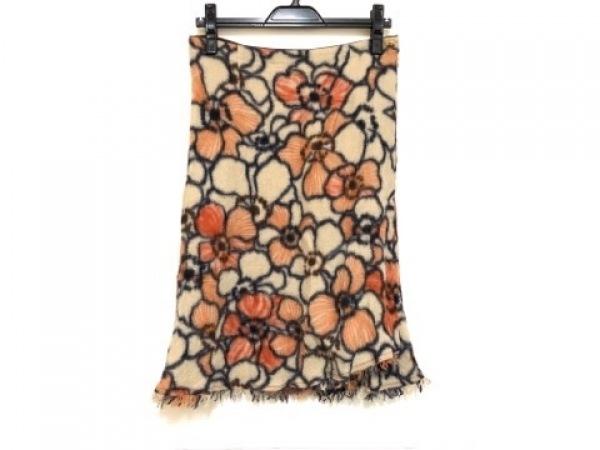 パラスパレス スカート サイズ3 L レディース ベージュ×ダークネイビー×オレンジ