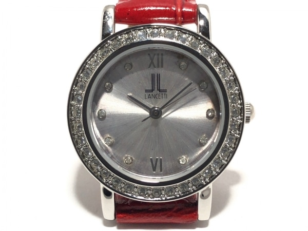 ランチェッティ 腕時計美品  - A1967 レディース 革ベルト/型押し加工/ラインストーン