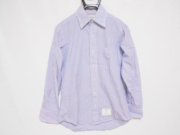 THOM BROWNE(トムブラウン) 長袖シャツ サイズ0 XS メンズ 白×パープル ストライプ