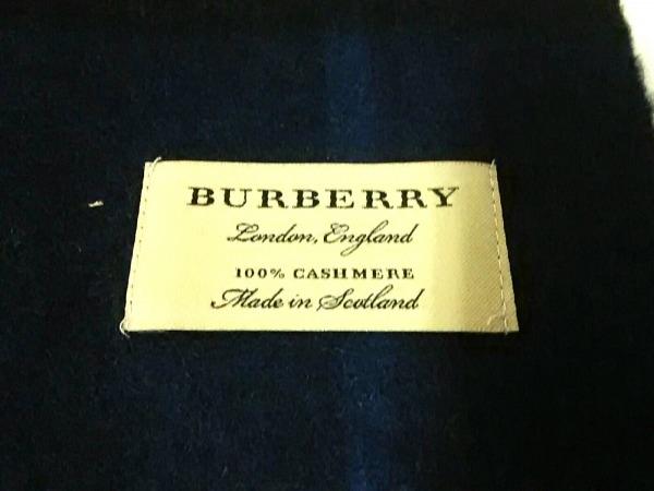 Burberry(バーバリー) マフラー ダークネイビー×白 チェック柄 カシミヤ
