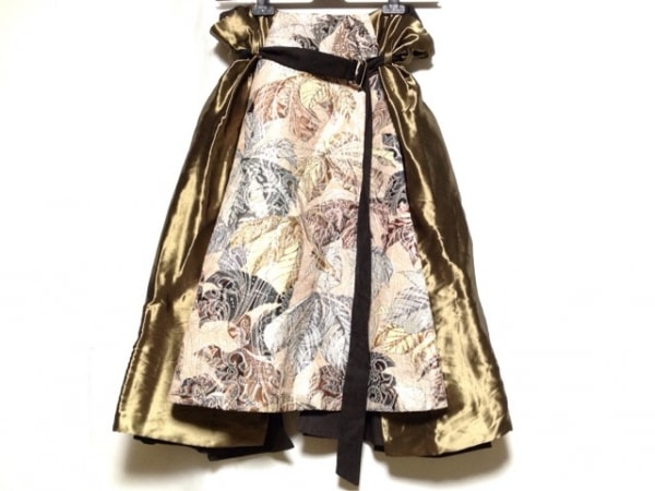 アントニオマラス スカート サイズ40 M レディース ベージュ×ブラウン×マルチ
