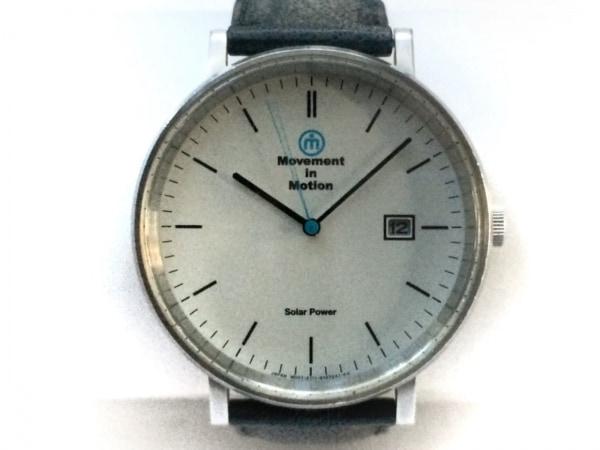 ムーブメントインモーション 腕時計 E111-S073901 メンズ 革ベルト 白