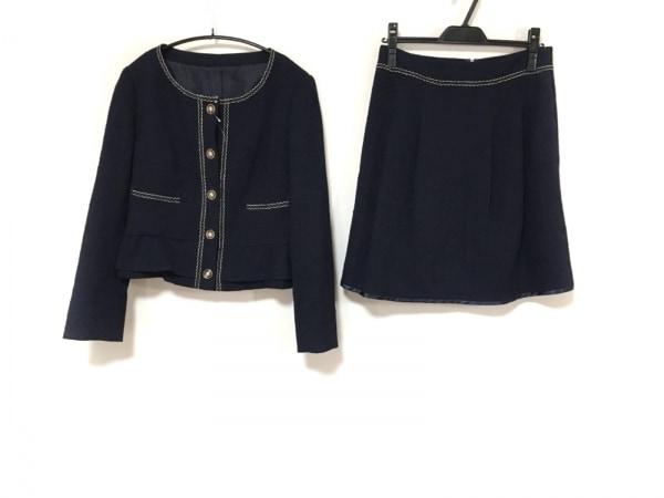 ru(アールユー) スカートスーツ サイズ3 L レディース ダークネイビー×オーロラ