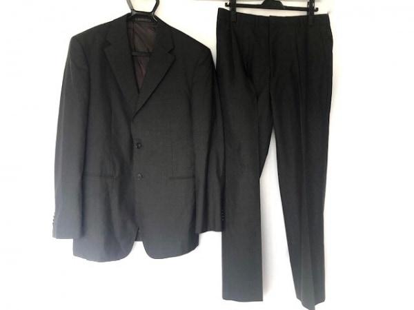 TETE HOMME(テットオム) シングルスーツ サイズL メンズ 黒×ダークグレー ストライプ