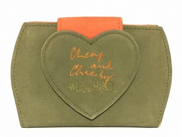 MOSCHINO(モスキーノ) カードケース ダークグリーン×オレンジ ハート スエード