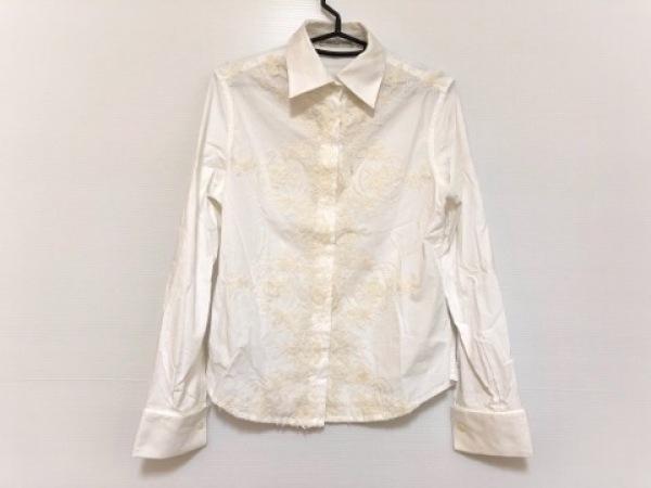 エルマノシェルビーノ 長袖シャツブラウス サイズ42 L レディース 白 刺繍