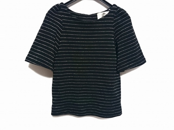 kaon(カオン) 半袖カットソー サイズS レディース美品  黒×シルバー ボーダー/ラメ