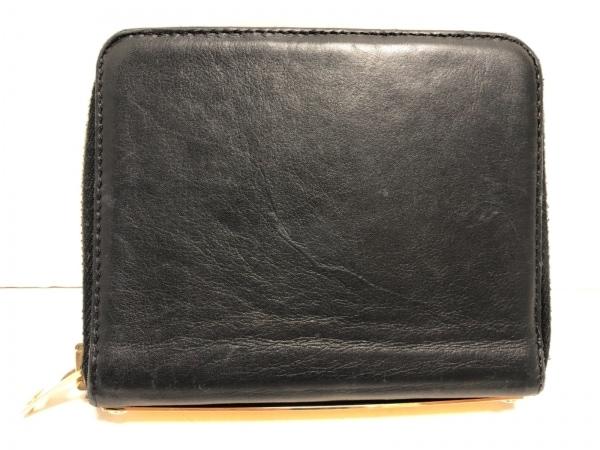 SOPHIE HULME(ソフィーヒュルム) 2つ折り財布 黒×ゴールド レザー×金属素材