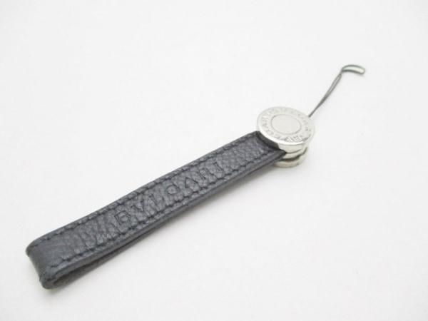 BVLGARI(ブルガリ) 携帯ストラップ ブルガリブルガリ 黒×シルバー レザー×金属素材