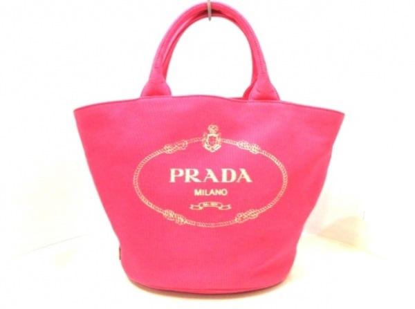 PRADA(プラダ) トートバッグ CANAPA 1BG186 ピンク×アイボリー 革タグ キャンバス