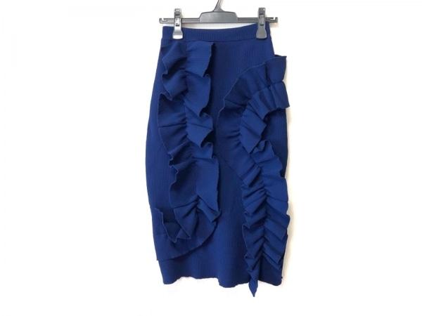 AKIRA NAKA(アキラナカ) ロングスカート サイズ38 M レディース ネイビー フリル