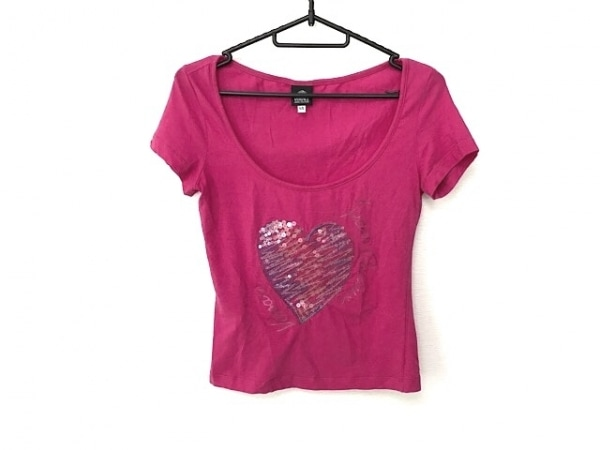ヴェルサーチジーンズ 半袖Tシャツ サイズXS レディース美品  ピンク×ブルー×マルチ