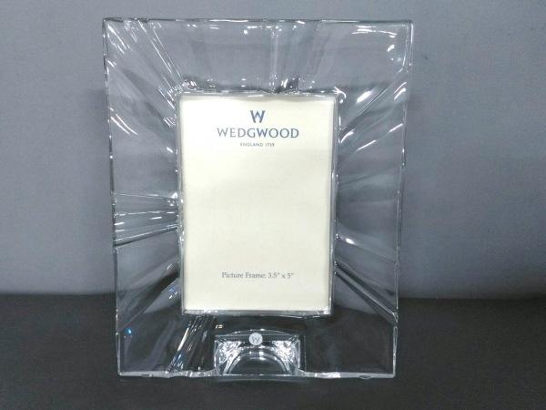 WEDG WOOD(ウェッジウッド) 小物美品  クリア×白 写真立て ガラス