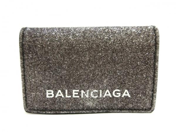 バレンシアガ 3つ折り財布 グリッターミニウォレット 410133 ダークグレー グリッター