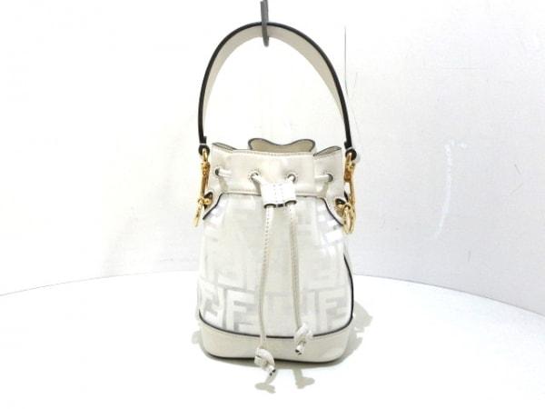 フェンディ ハンドバッグ モントレゾール 8BS010 クリア×白 巾着型/ミニバッグ