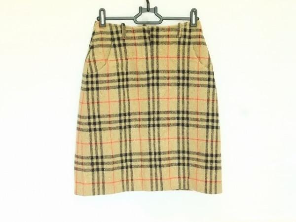 バーバリーゴルフ スカート サイズ4(UK) S レディース ライトブラウン×黒×レッド