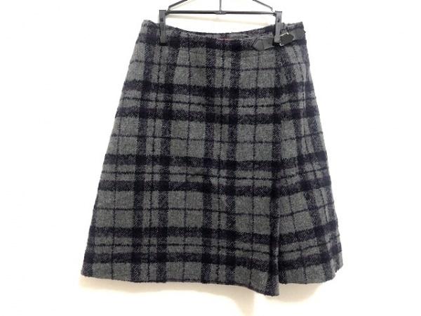 YORKLAND(ヨークランド) スカート レディース グレー×パープル×黒 チェック柄