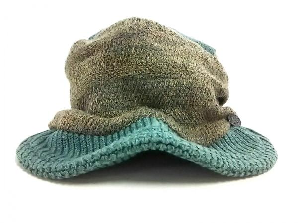 CA4LA(カシラ) 帽子美品  グリーン×グレー×ベージュ キャスケット/ニット
