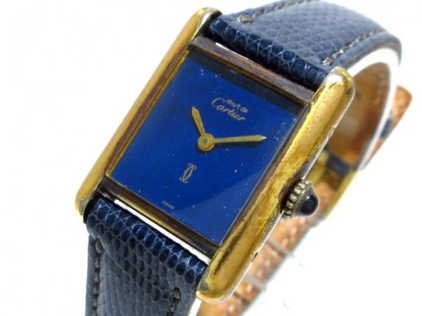 Cartier(カルティエ) 腕時計 マストタンク - レディース 925/革ベルト ネイビー