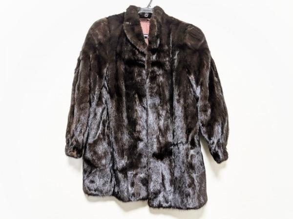 SAGA MINK(サガミンク) コート レディース美品  ダークブラウン ネーム刺繍/冬物