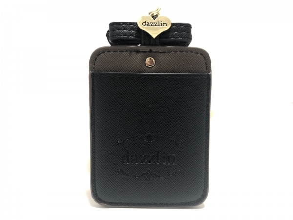DAZZLIN(ダズリン) パスケース美品  黒×ダークブラウン リボン 合皮