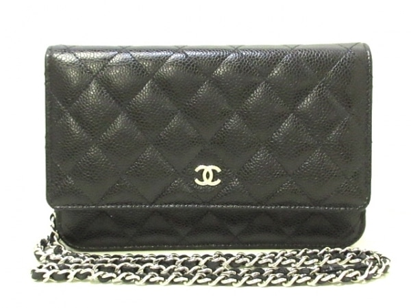 CHANEL(シャネル) 財布美品  マトラッセ A33814 黒 チェーンウォレット/シルバー金具