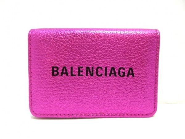 バレンシアガ 3つ折り財布美品  エブリディL ミニウォレット 551921 メタルピンク