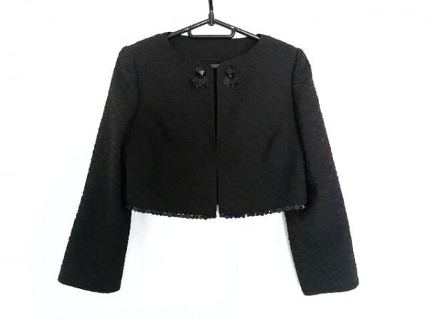 タエアシダ ジャケット サイズ11 M レディース 黒 シワ加工/スパンコール/ビーズ