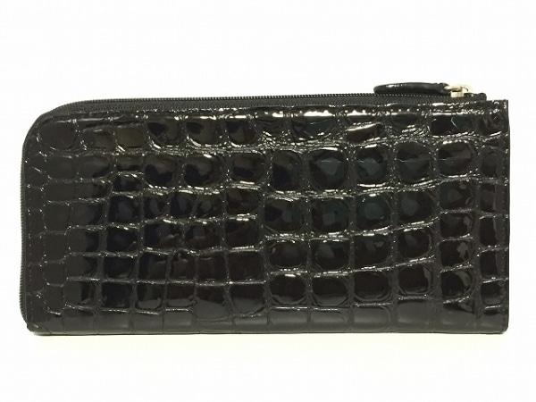 コッコフィオーレ 長財布 黒 L字ファスナー/型押し加工 エナメル(レザー)