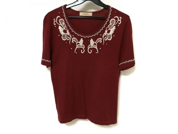 INGEBORG(インゲボルグ) 半袖セーター レディース ボルドー×アイボリー 刺繍/ビーズ