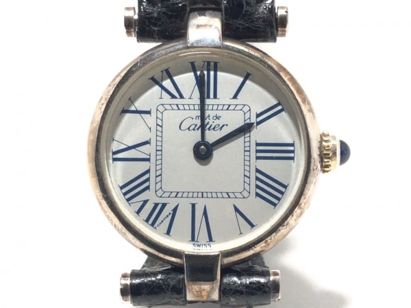 Cartier(カルティエ) 腕時計 - レディース 革ベルト/925 シルバー