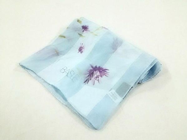 BASILE(バジーレ) ストール(ショール) ライトブルー×パープル×グリーン 花柄 シルク