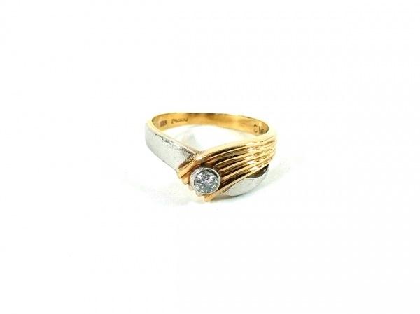 ノーブランド リング K18×Pt900×ダイヤモンド クリア 総重量:3.2g/0.13刻印
