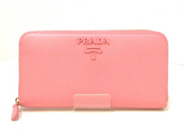 PRADA(プラダ) 長財布美品  - ピンク ラウンドファスナー レザー