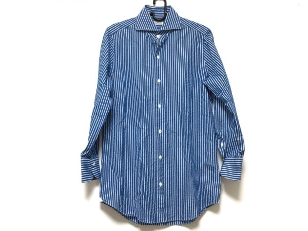 finamore(フィナモレ) 長袖シャツ メンズ ブルー×白 ストライプ