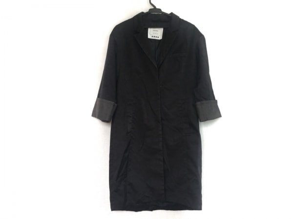 PLS+T(PLST)(プラステ) コート サイズ2 M レディース 黒×ダークグレー 春・秋物