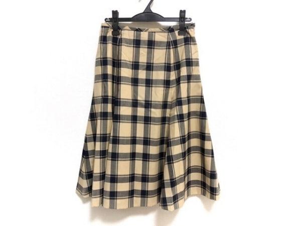 ヨークランド ロングスカート サイズ13 L レディース新品同様  ベージュ×黒×マルチ