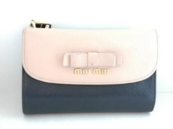 miumiu(ミュウミュウ) 3つ折り財布 - ベージュ×黒 リボン レザー 1