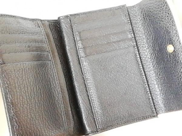 miumiu(ミュウミュウ) 3つ折り財布 - ベージュ×黒 リボン レザー 3