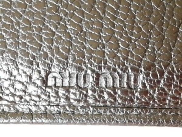 miumiu(ミュウミュウ) 3つ折り財布 - ベージュ×黒 リボン レザー 5