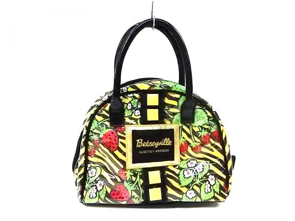 BETSEY JOHNSON(ベッツィージョンソン) ハンドバッグ 黒×イエロー×マルチ 花柄