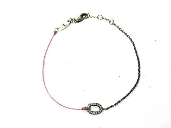 redline(レッドライン) ブレスレット - - K18WG×ダイヤモンド×天然繊維 ピンク