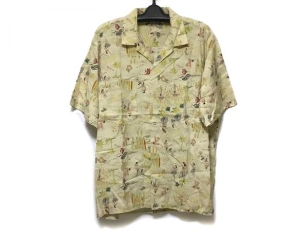 Papas(パパス) 半袖シャツ サイズL メンズ美品  ベージュ×レッド×マルチ