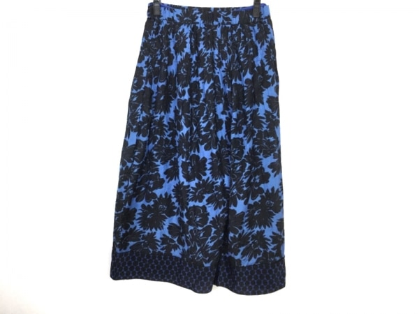 NOKO OHNO(ノコオーノ) パンツ サイズ40 M レディース ブルー×黒 花柄/サルエル