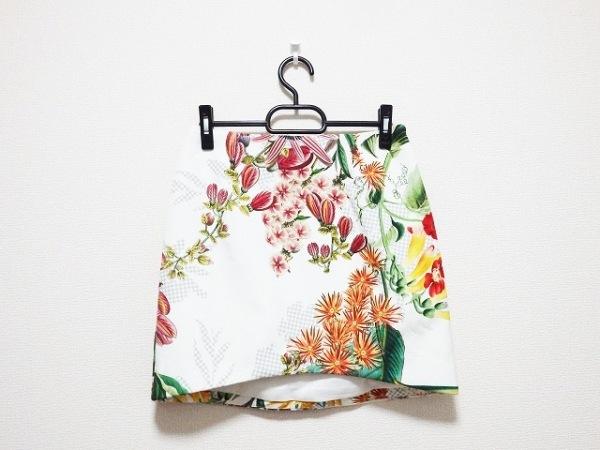 CAMEO(カメオ) ミニスカート サイズM レディース アイボリー×グリーン×マルチ 花柄