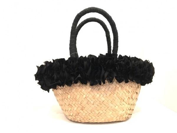 カシェリエ トートバッグ美品  ベージュ×黒 かごバッグ ストロー×化学繊維