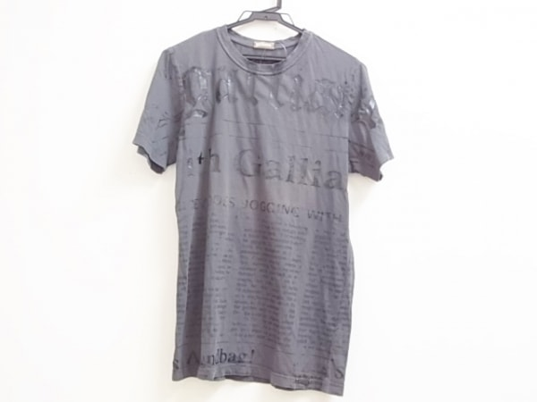 galliano(ガリアーノ) 半袖Tシャツ サイズS メンズ ダークグレー×黒